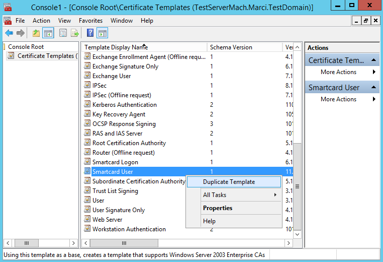 Setting up a Smart Card Template for Self-Enrollment (Server 2012 R2