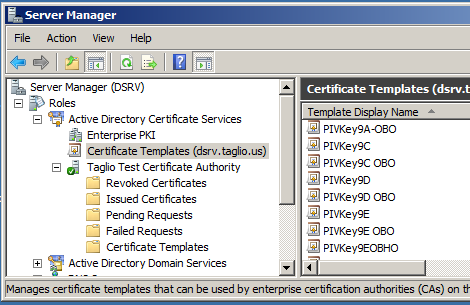 Mapping a piv certificate using an oid taglio pivkey to add the oid to the template in windows server 2008 r2 open the server manager on the windows ca server and open the relevant certificate template yadclub Choice Image